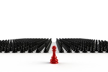 Red and black chess pawn on white background, Business leadership, Teamwork power and confidence concept, 3d rendering