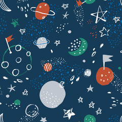 Vector space seamless pattern. Cosmos doodle illustration. Seamless pattern with cartoon planets and stars. Vector illustration for wrapping paper, textile, surface textures, childish design.