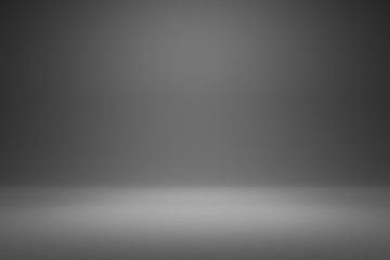 Empty gray background and spotlight with studio for showing or design. Blank backdrop made from cement material. Realistic 3D render.