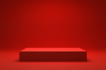 Empty Red background and stand display or shelf with studio for showing or design christmas concept. Blank backdrop made from cement material. Realistic 3D render.