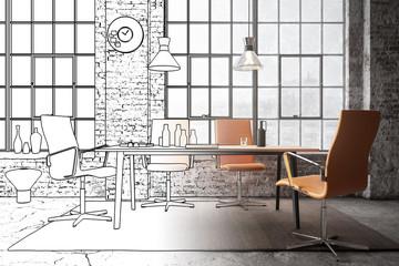 Office Lounge inside an industrial Loft (concept) - 3d visualization