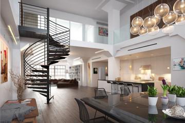 Fototapeta City Loft Apartment - 3d visualization obraz
