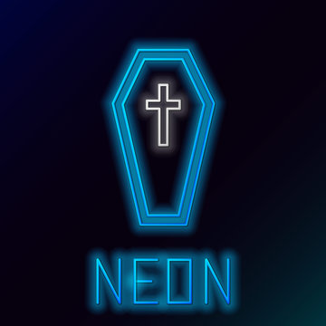 Blue glowing neon line Coffin with christian cross icon isolated on black background. Happy Halloween party. Colorful outline concept. Vector Illustration