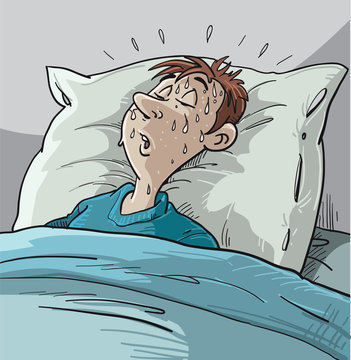 Illustration of a Sleeping Man Soaking in Night Sweats in Bed