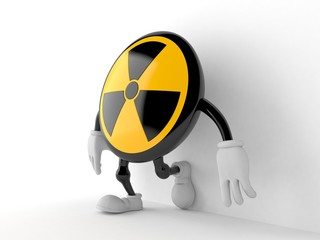 Radioactive character leaning on wall on white background