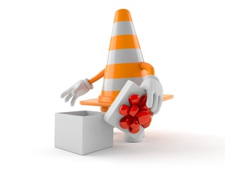 Traffic cone character with open gift