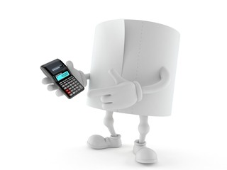 Toilet paper character holding calculator