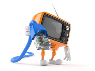 Retro TV character holding network cable