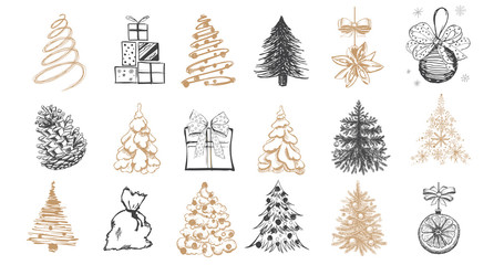 Christmas tree set. Christmas ball set. Hand drawn illustration.