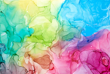 Abstract colorful background, wallpaper. Mixing acrylic paints. Modern art. Paint marble texture. Alcohol ink colors  translucent
