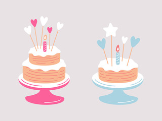 Birthday baby cakes cartoon vector set. Cupcakes for girls and boys decorated with one burning candle and hearts.