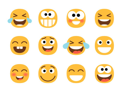 Cheerful emoticons. Funny laughing faces, laugh with tears smile, joy and happiness, smiling cartoon emoji set, lol cheering characters