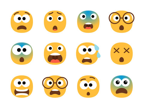Scared emoticon faces. Vector fearing emoji set, fear screaming face, nervous and stress cartoon characters