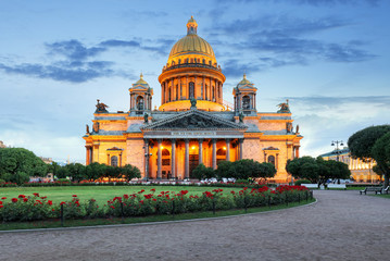 Saint Petersburg - Isaac cathedral at night, Russia.