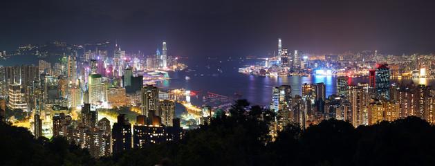 Fotomurales - Panorama of Hong Kong at night, China - Asia