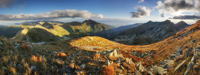 Panoramic view from Rohac peak on Western Tatra mountains or Rohace panorama