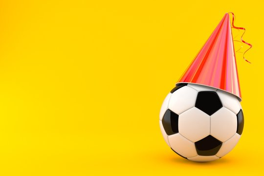Soccer ball with party hat