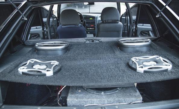 Interior of car. Car speakers