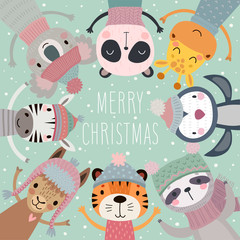 Wall Mural - Christmas card with Cute animals. Hand drawn characters. Merry Christmas Greeting flyer.