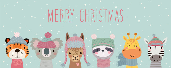 Fototapete - Merry Christmas card with Cute animals. Hand drawn characters in winter clothes. Greeting flyer.