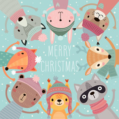 Wall Mural - Christmas card with Cute forest animals. Hand drawn characters. Greeting flyer.