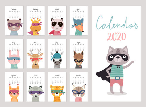 Calendar 2020. Cute monthly calendar with super hero animals. Hand drawn characters.