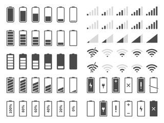 Signal and battery icons. Network signal strength and telephone charge level. Battery status, wifi internet wireless loading vector set
