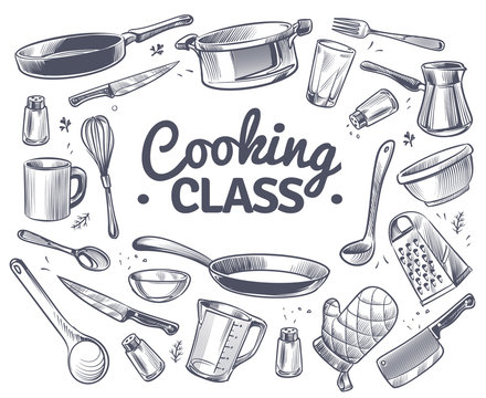 Cooking class. Sketch kitchen tool, kitchenware. Soup pan, knife and fork, spoon and grater chef utensils doodle vector gastronomy concept