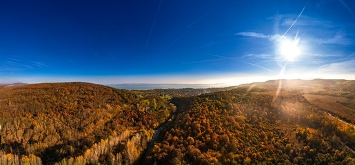 Hungarian landscape panorama by drone