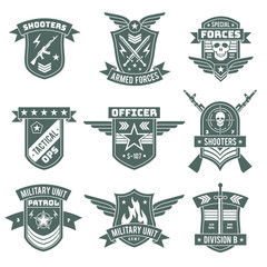 Military badges. Army patches, embroidery chevron with ribbon and star, gun and skull. Vintage soldier clothing tag, t-shirt vector design
