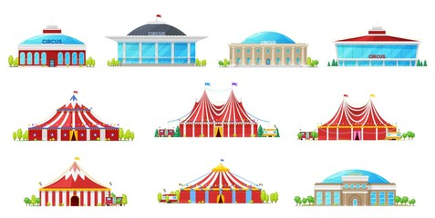 Circus buildings, carnival tent, chapiteau marquee
