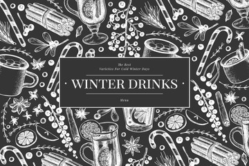 Winter drinks vector banner template. Hand drawn engraved style mulled wine, hot chocolate, spices illustrations on chalk board. Vintage christmas background.