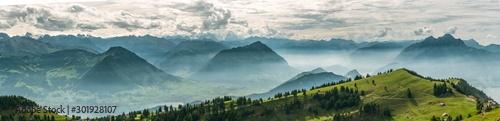 Wall mural Beautiful panoramic view on Swiss Alps around Lake Lucerne as seen from top of Rigi Kulm peak