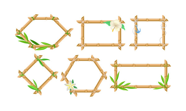 Set Of Bamboo Frames Of Different Shapes Vector Illustration