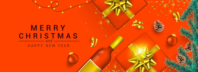 Holiday New year card - Merry Christmas on colored background