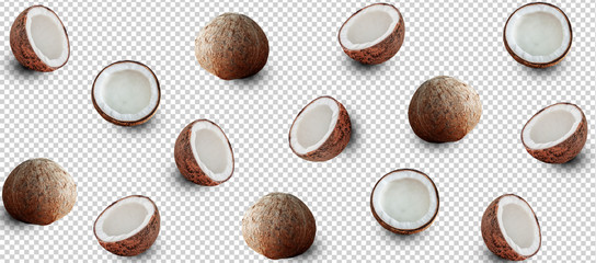 Minimal flat lay coconuts isolated with clipping path on transparent background. art design, Pattern with ripe creative summer concept. Half and full of coconut style