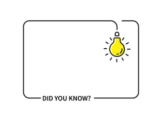 Fototapeta did you know with hanging bulb. flat stroke trendy modern minimal logo graphic obraz