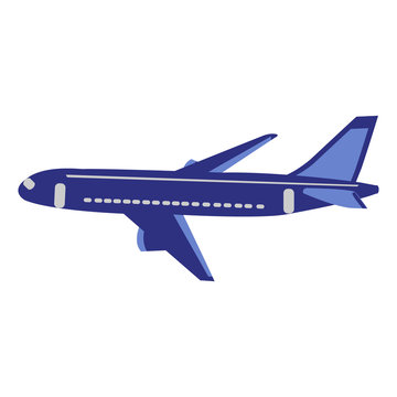 A Beautiful Dark Blue And Grey Plane On A White Backdrop