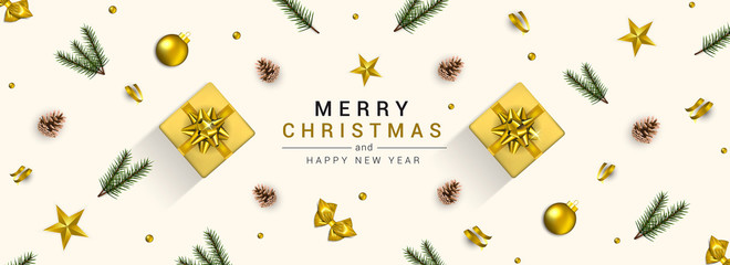 Holiday New year card - Merry Christmas on White background 3