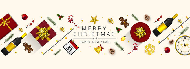 Holiday New year card - Merry Christmas on White background 2