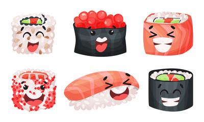 Sushi and Sashimi Vector Set. Traditional Japanese Food Collection