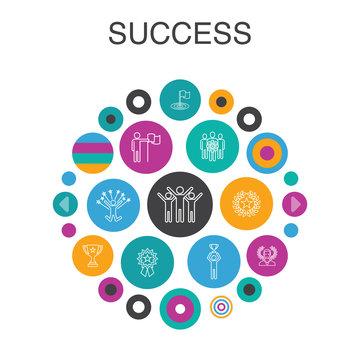 success Infographic circle concept. Smart UI elements achievement, champion, award, attainment simple icons
