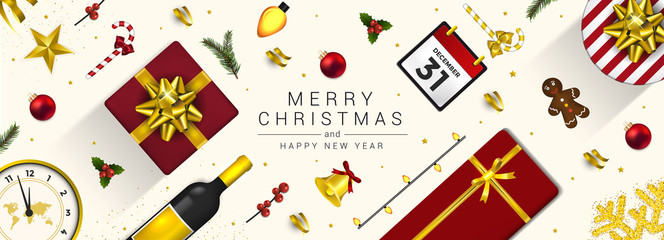 Holiday New year card - Merry Christmas on White background