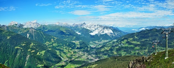 Austrian Alps-panoramic view on the valley Montafon and town Schruns