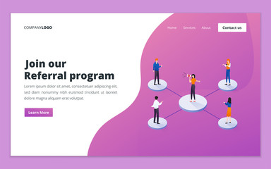 Landing page template of referral program. Referral marketing, affiliate marketing, refer a friend and business partnership concept for website and mobile website development
