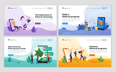Landing page template of referral marketing strategy. Affiliate marketing, referral program, network marketing, business partnership, refer a friend concept for website and mobile website development