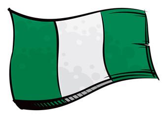 Painted Nigeria flag waving in wind
