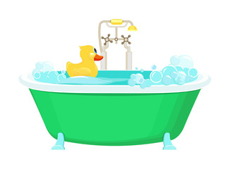 Bathroom yellow duck. Relax water foam bubbles with rubber duck shower vector picture cartoon background. Illustration bathroom with yellow duck in foam