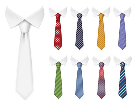 Men ties. Fabric clothes items for male wardrobe elegant style ties different colors and textures vector realistic mockup collection. Fabric textile, elegance clothing accessory necktie illustration