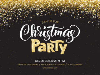 Wall Mural - Christmas party poster template. Sparkling glitter holiday background
